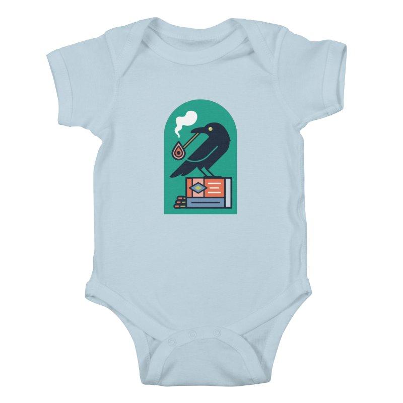 Lit Crow Kids Baby Bodysuit by Rick Pinchera's Artist Shop