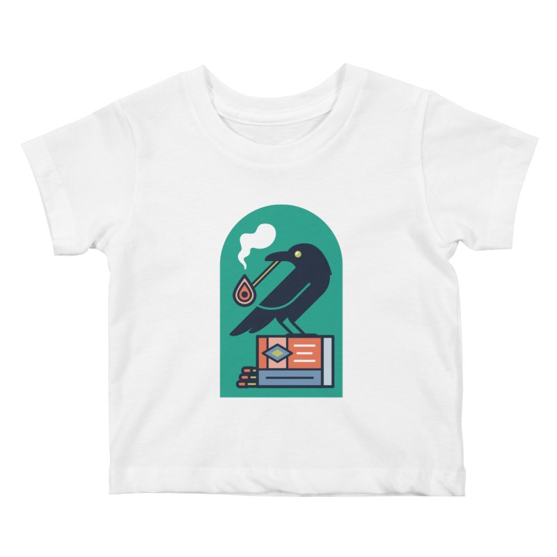 Lit Crow Kids Baby T-Shirt by Rick Pinchera's Artist Shop