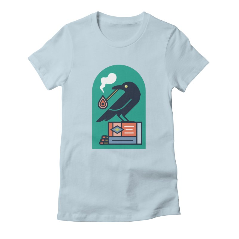 Lit Crow Women's Fitted T-Shirt by Rick Pinchera's Artist Shop