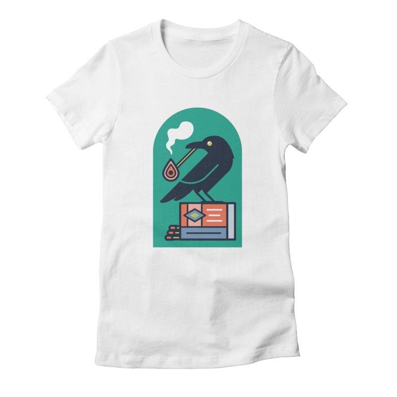 Lit Crow Women's Fitted T-Shirt by Rick Pinchera's Artist Shop