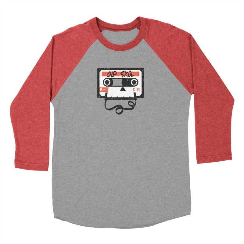 Old Skül in Men's Baseball Triblend T-Shirt Chili Red Sleeves by Rick Pinchera's Artist Shop