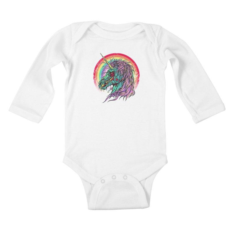 Unicorn Zombie Kids Baby Longsleeve Bodysuit by Ricomambo