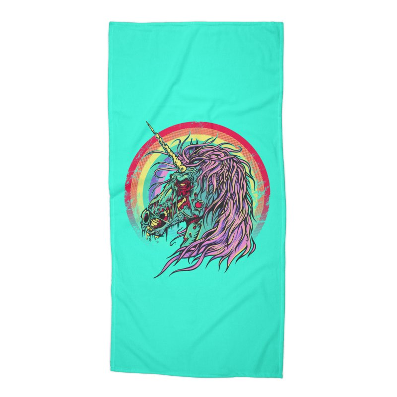 Unicorn Zombie Accessories Beach Towel by Ricomambo