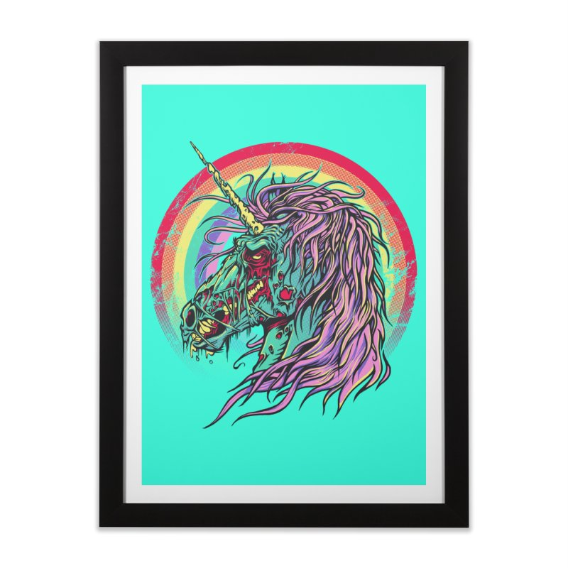 Unicorn Zombie Home Framed Fine Art Print by Ricomambo