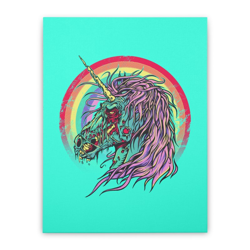 Unicorn Zombie Home Stretched Canvas by Ricomambo