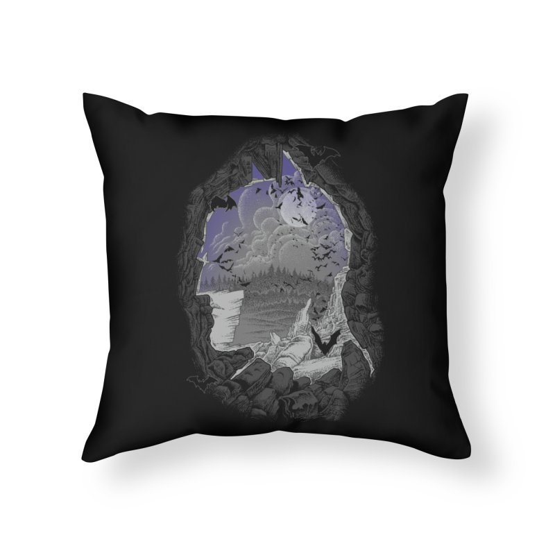 Bat Cave Home Throw Pillow by Ricomambo