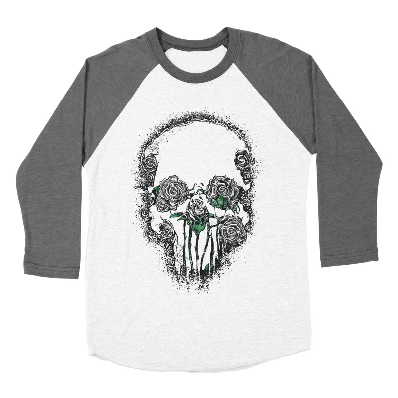 Skull Roses Women's Baseball Triblend T-Shirt by Ricomambo