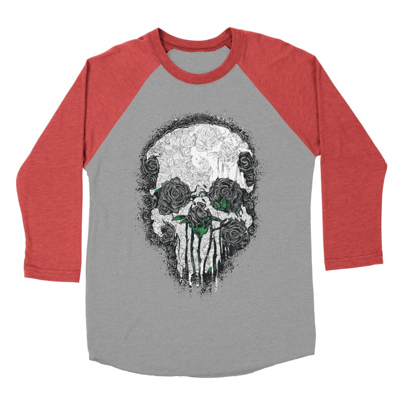 Skull Roses Men's Baseball Triblend T-Shirt by Ricomambo