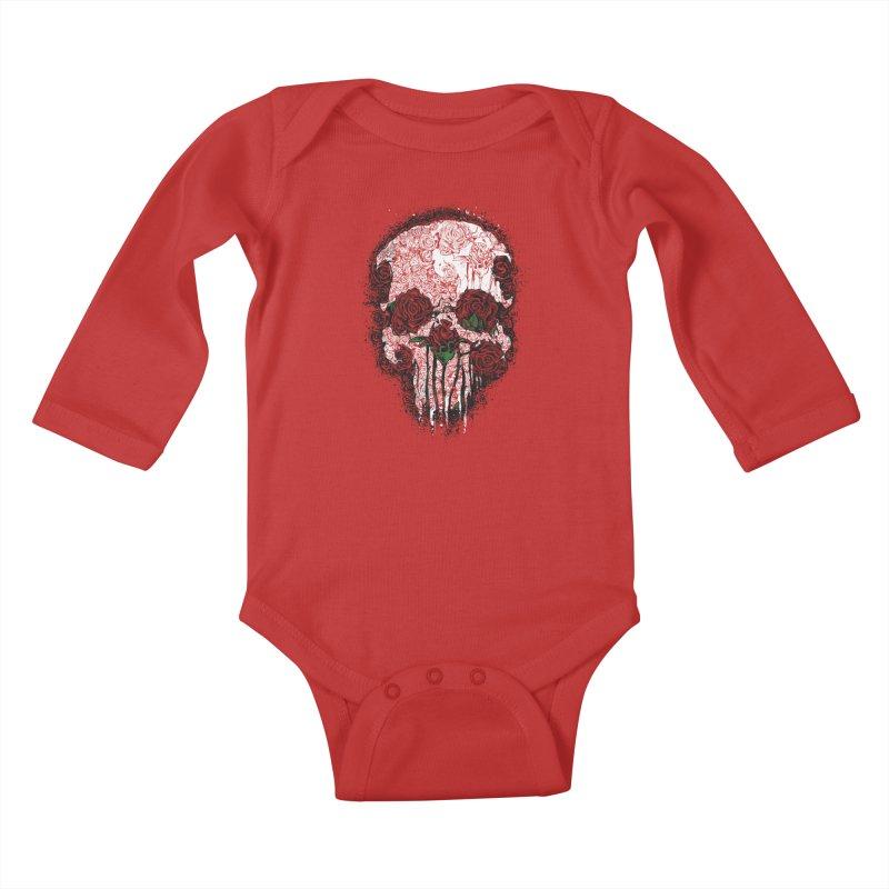 Skull Roses Kids Baby Longsleeve Bodysuit by Ricomambo