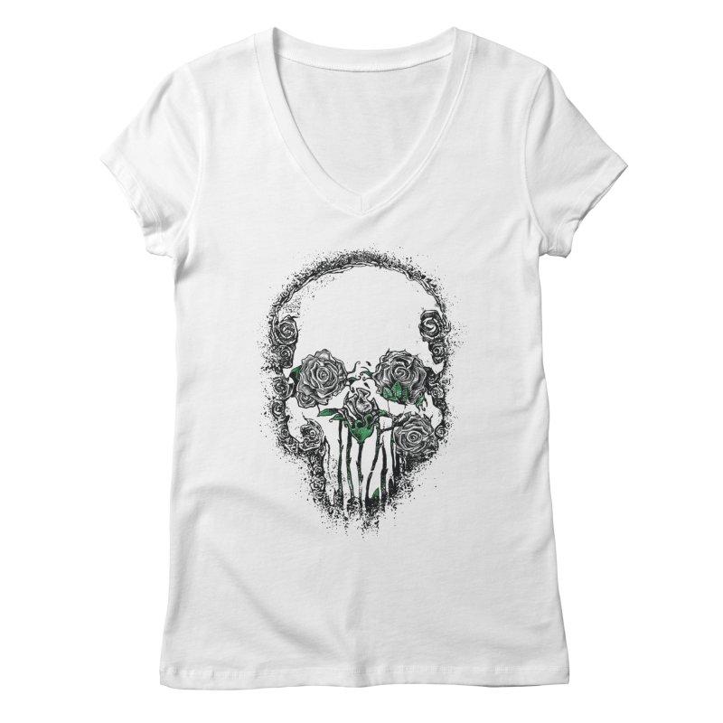 Skull Roses Women's V-Neck by Ricomambo