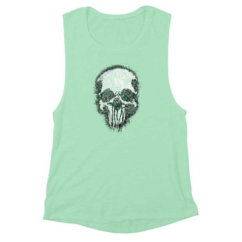 Skull Roses Women's Muscle Tank by Ricomambo