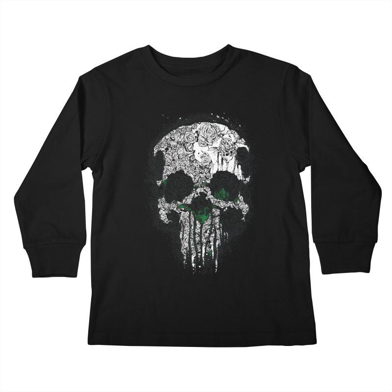 Skull Roses Kids Longsleeve T-Shirt by Ricomambo