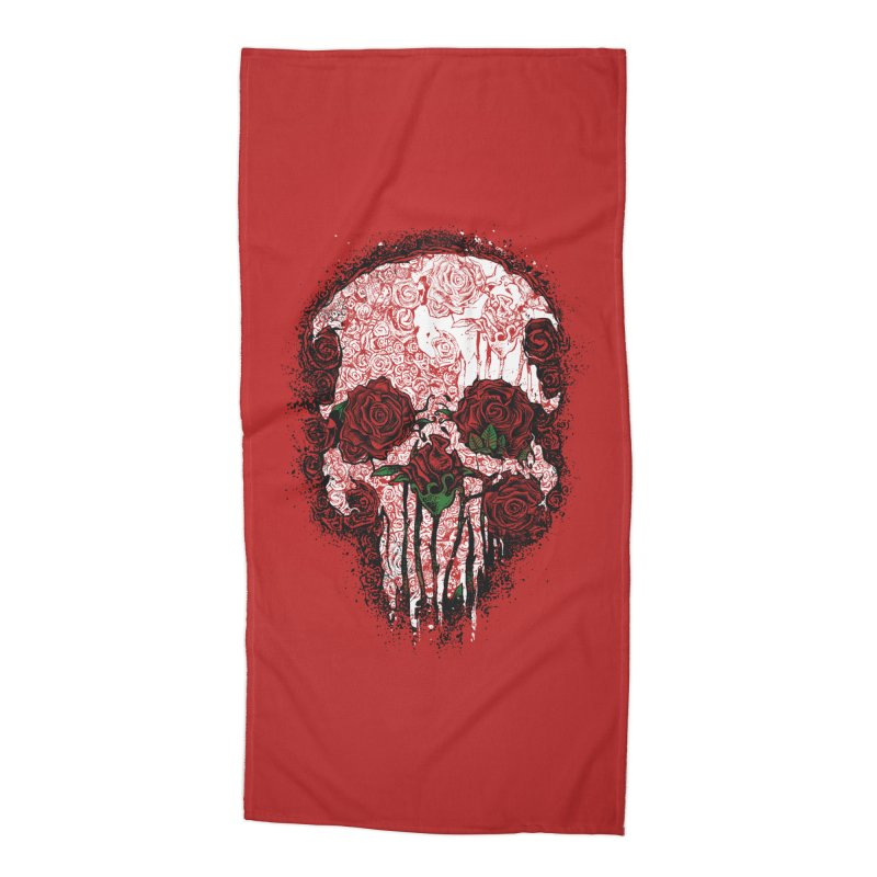 Skull Roses Accessories Beach Towel by Ricomambo