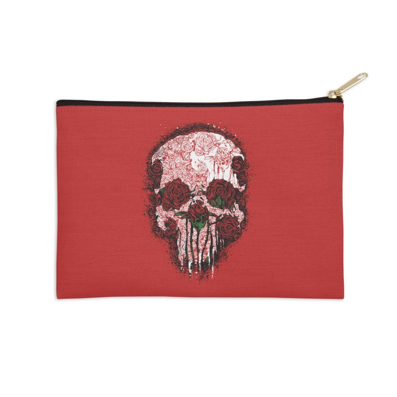 Skull Roses Accessories Zip Pouch by Ricomambo