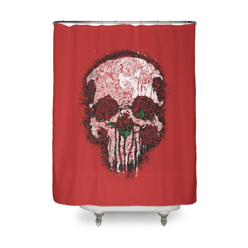 Skull Roses Home Shower Curtain by Ricomambo