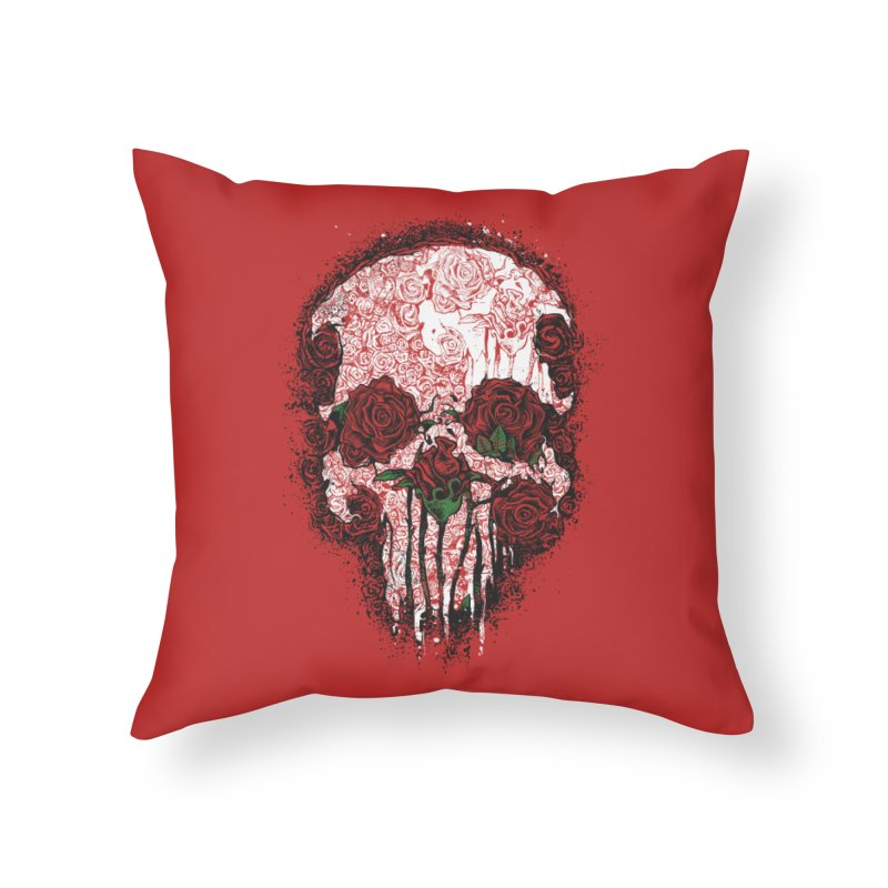 Skull Roses Home Throw Pillow by Ricomambo