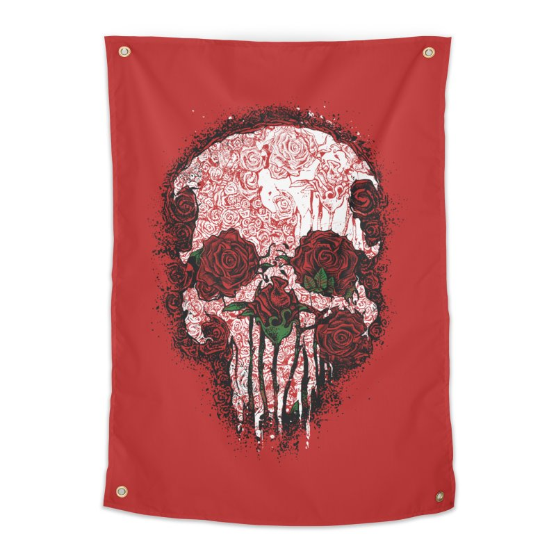 Skull Roses Home Tapestry by Ricomambo
