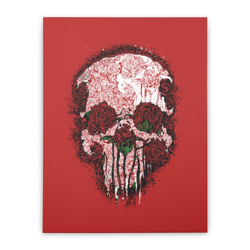 Skull Roses Home Stretched Canvas by Ricomambo