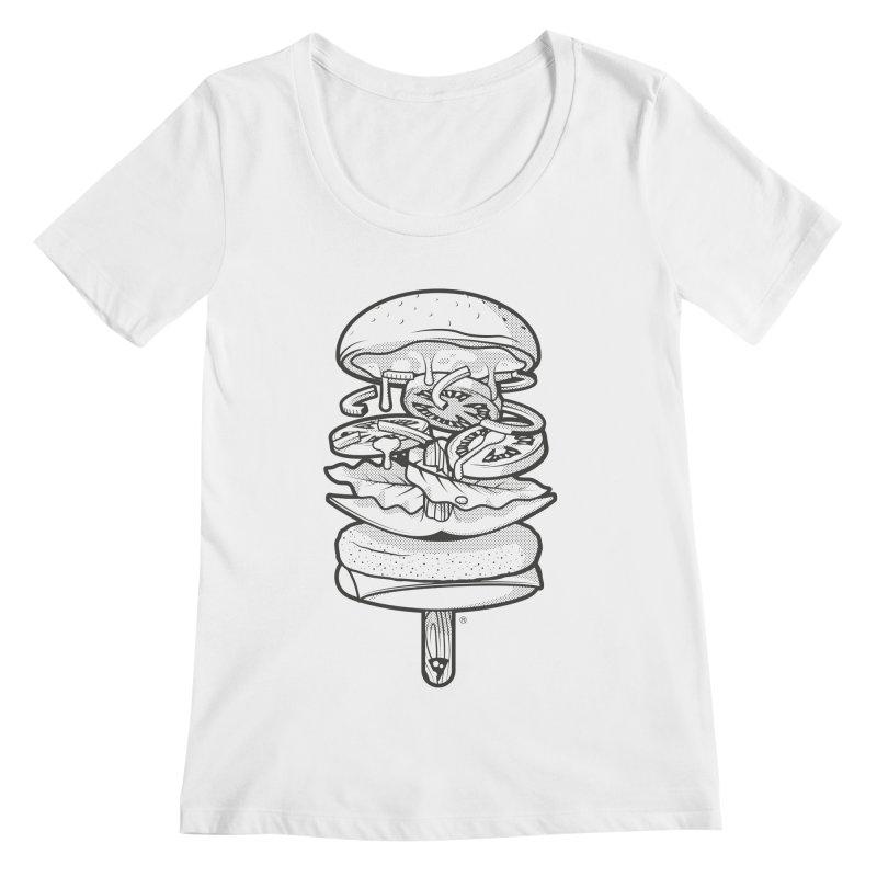 Summerburger Mono Women's Scoopneck by ricosquesos's Artist Shop