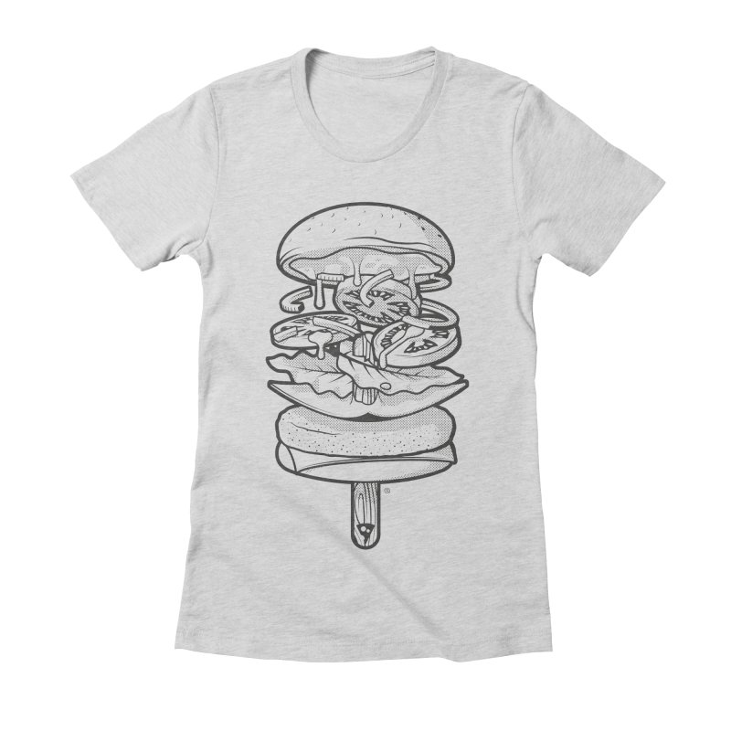 Summerburger Mono Women's Fitted T-Shirt by ricosquesos's Artist Shop