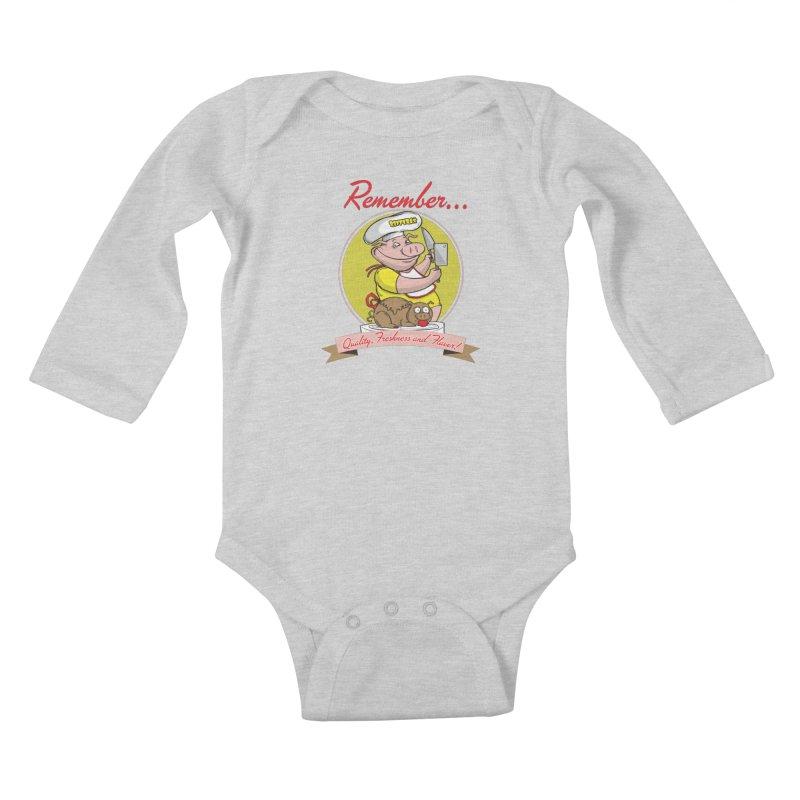 Quality Freshness and Flavor Kids Baby Longsleeve Bodysuit by RiffTrax on Threadless!