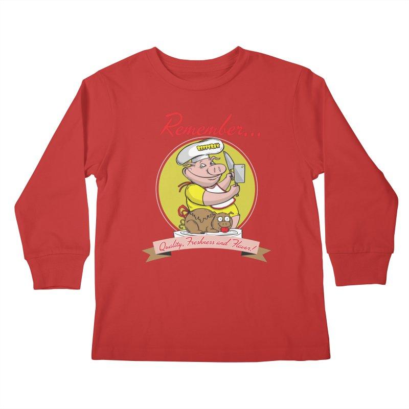 Quality Freshness and Flavor Kids Longsleeve T-Shirt by RiffTrax on Threadless!