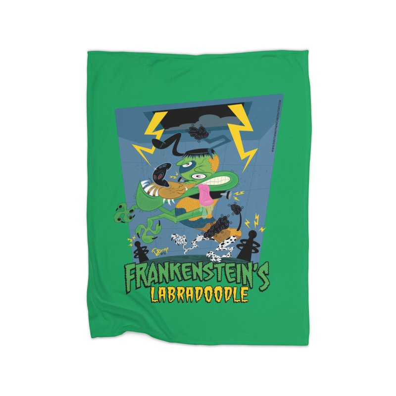 Frankenstein's Labradoodle Home Fleece Blanket Blanket by righthemispherelaboratory's Shop