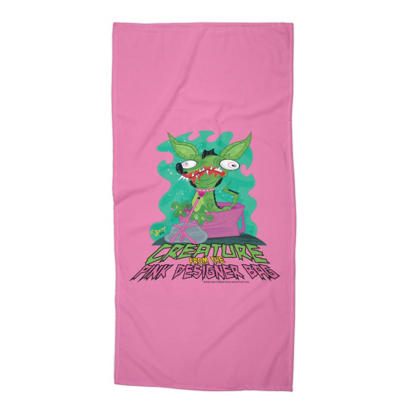 Creature from the Pink Designer Bag Accessories Beach Towel by righthemispherelaboratory's Shop
