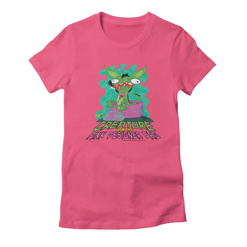 Creature from the Pink Designer Bag Women's Fitted T-Shirt by righthemispherelaboratory's Shop