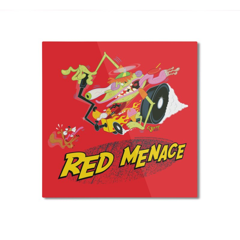 Red Menace Home Mounted Aluminum Print by righthemispherelaboratory's Shop