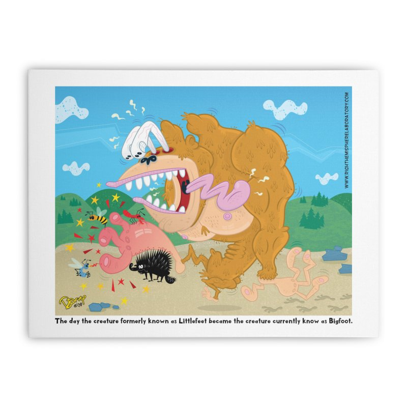How Bigfoot Got His Big Foot Home Stretched Canvas by righthemispherelaboratory's Shop