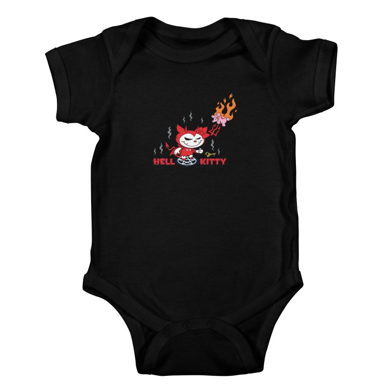 Hell Kitty Kids Baby Bodysuit by righthemispherelaboratory's Shop