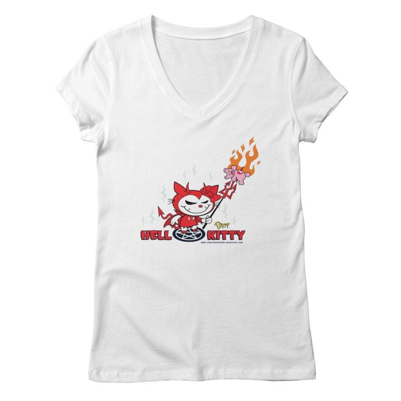Hell Kitty Women's Regular V-Neck by righthemispherelaboratory's Shop
