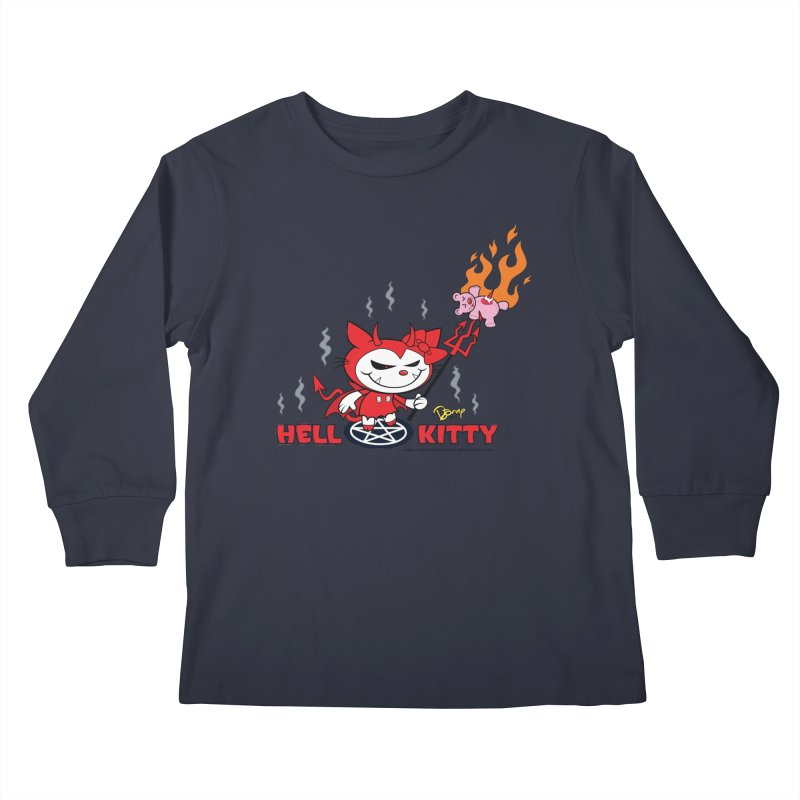 Hell Kitty Kids Longsleeve T-Shirt by righthemispherelaboratory's Shop