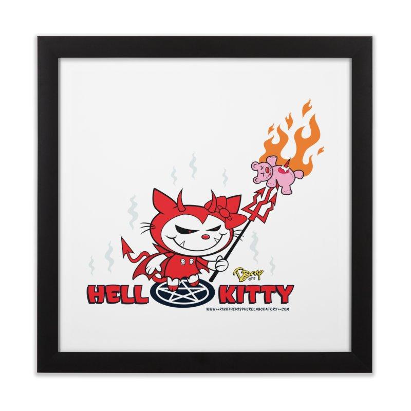 Hell Kitty Home Framed Fine Art Print by righthemispherelaboratory's Shop