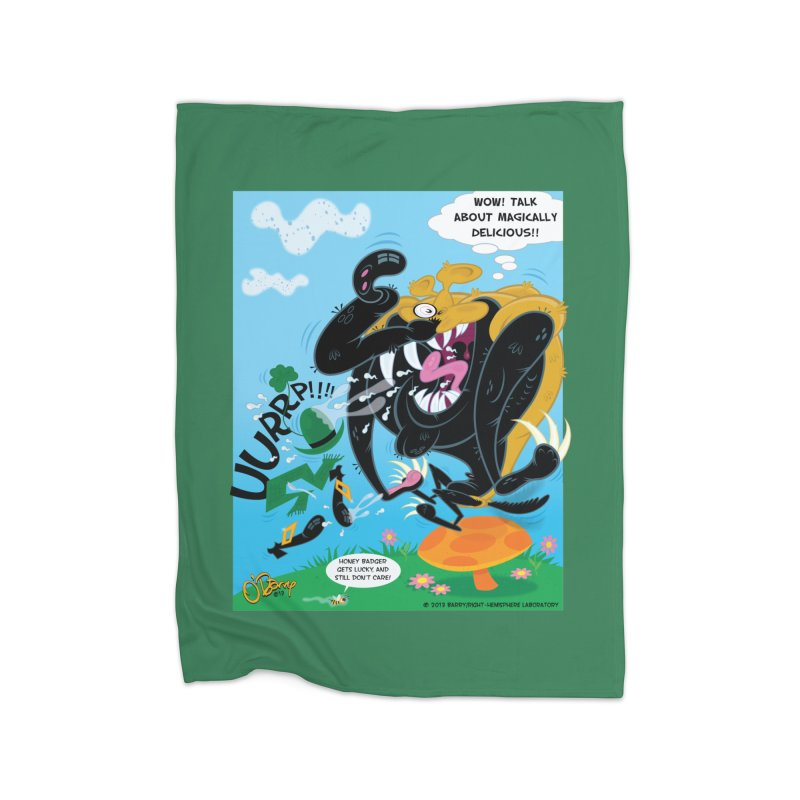 Honey Badger Gets Lucky Home Fleece Blanket Blanket by righthemispherelaboratory's Shop