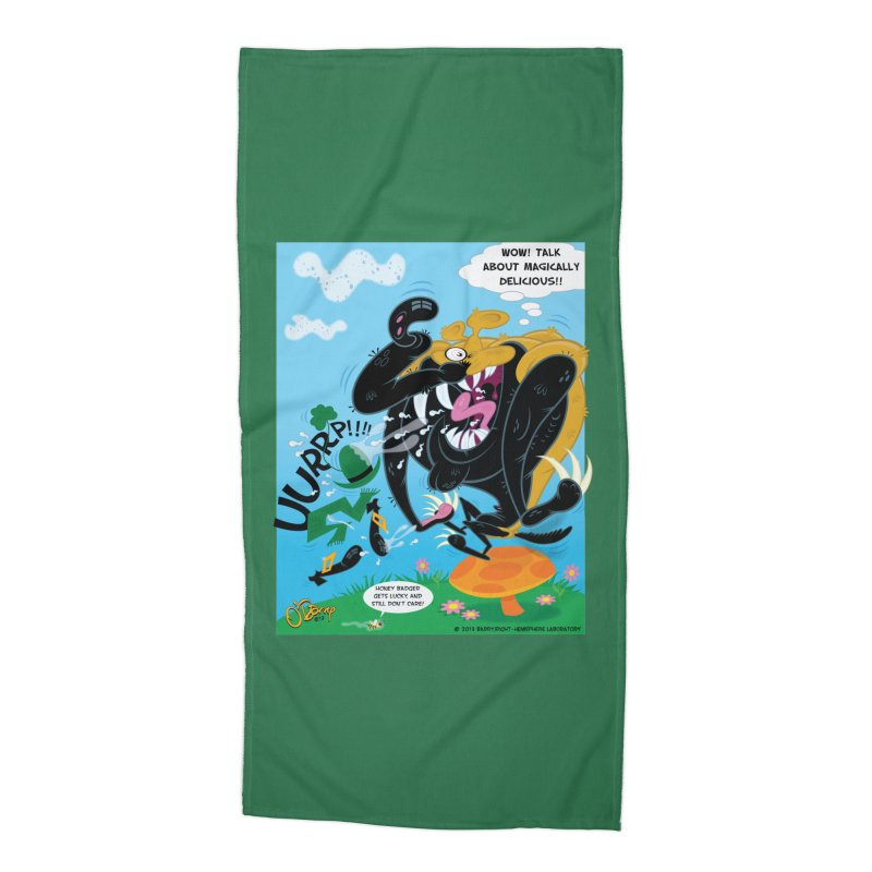 Honey Badger Gets Lucky Accessories Beach Towel by righthemispherelaboratory's Shop