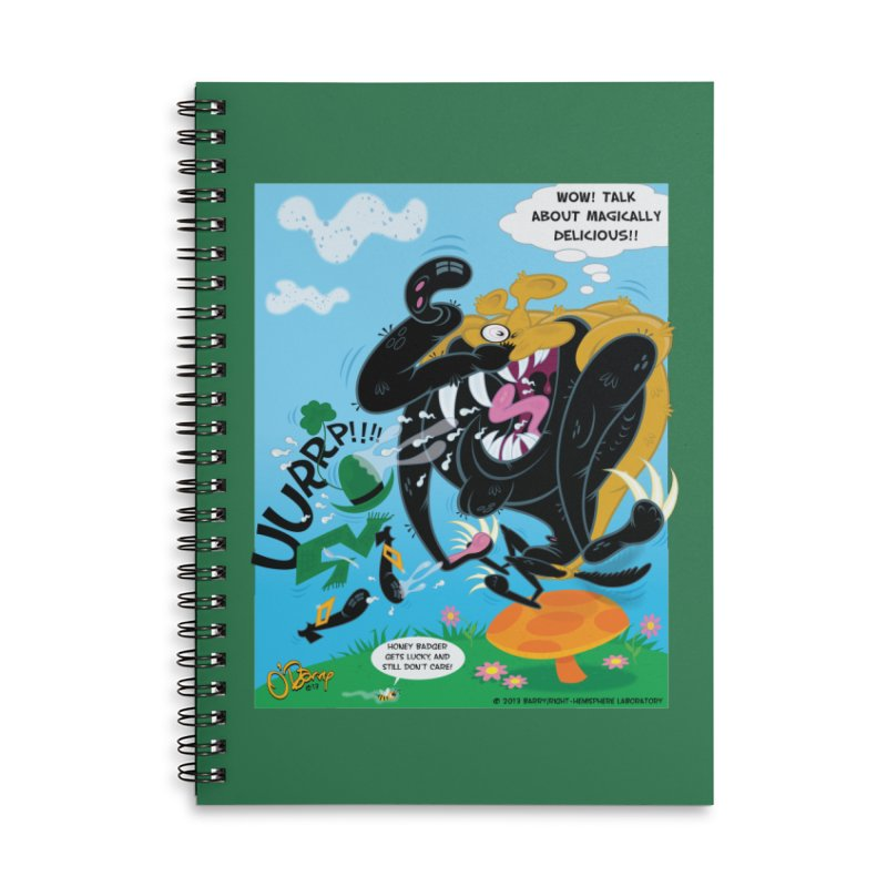 Honey Badger Gets Lucky Accessories Lined Spiral Notebook by righthemispherelaboratory's Shop