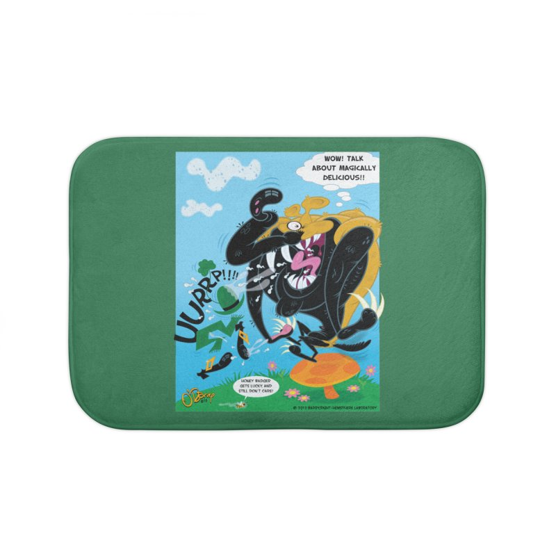 Honey Badger Gets Lucky Home Bath Mat by righthemispherelaboratory's Shop