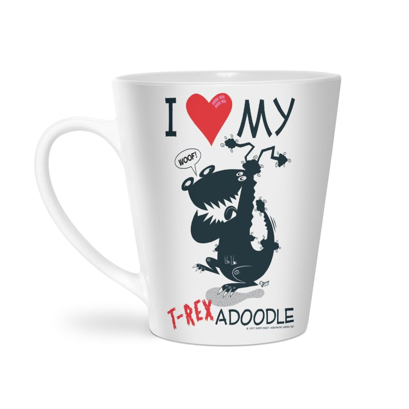 T-Rexadoodle Silhouette Accessories Latte Mug by righthemispherelaboratory's Shop