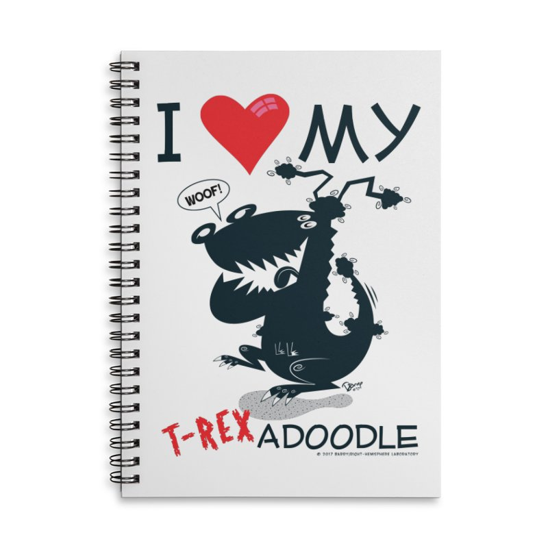 T-Rexadoodle Silhouette Accessories Lined Spiral Notebook by righthemispherelaboratory's Shop