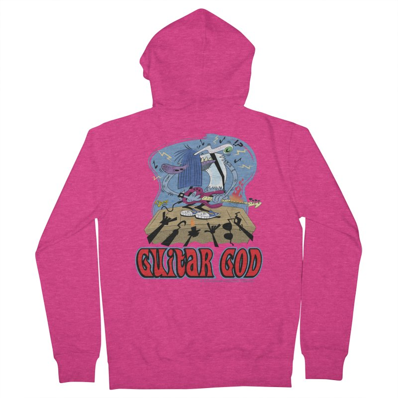 Guitar God Women's French Terry Zip-Up Hoody by righthemispherelaboratory's Shop