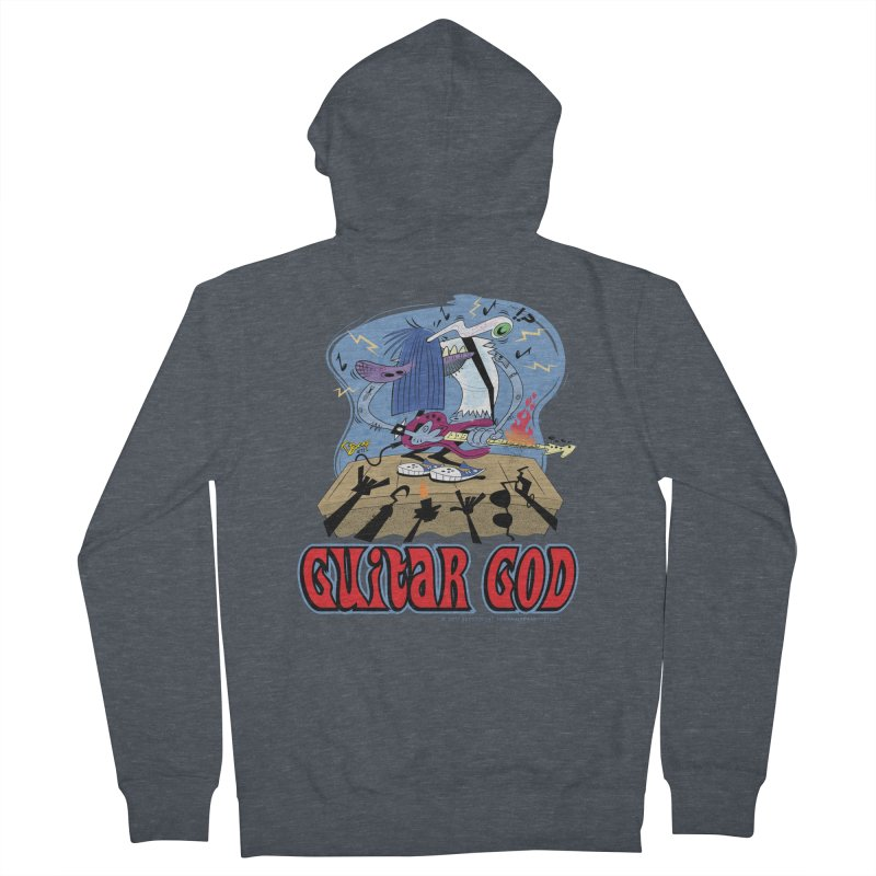 Guitar God Men's French Terry Zip-Up Hoody by righthemispherelaboratory's Shop