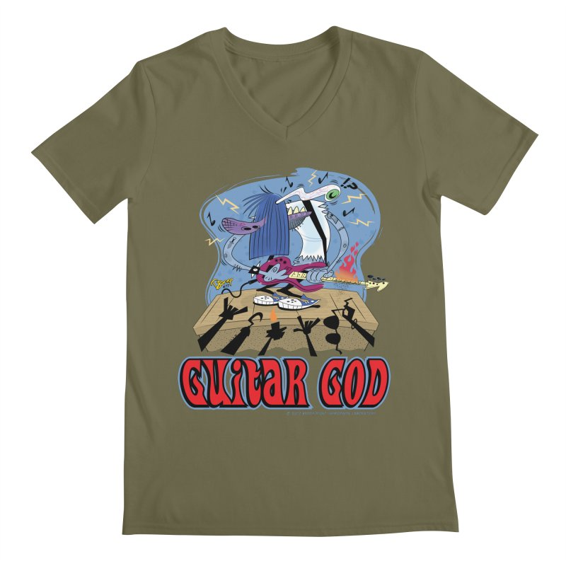 Guitar God Men's V-Neck by righthemispherelaboratory's Shop