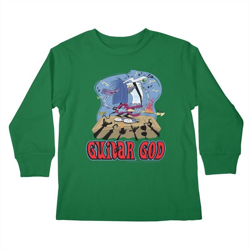 Guitar God Kids Longsleeve T-Shirt by righthemispherelaboratory's Shop