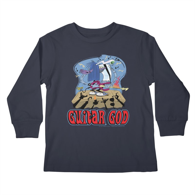 Guitar God Kids Longsleeve T-Shirt by righthemispherelaboratory's Shop