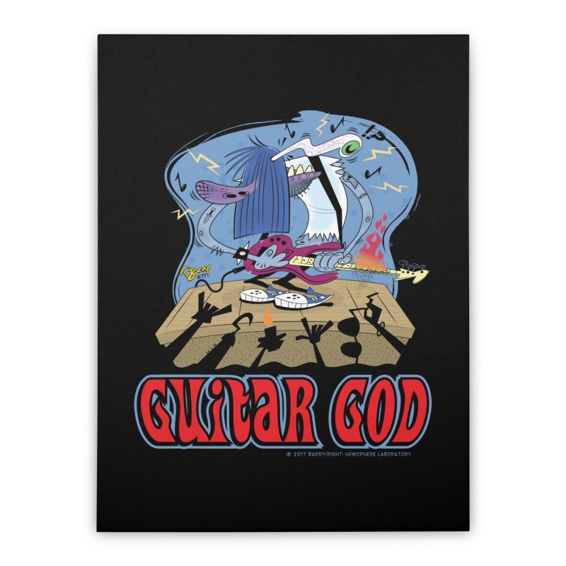 Guitar God Home Stretched Canvas by righthemispherelaboratory's Shop