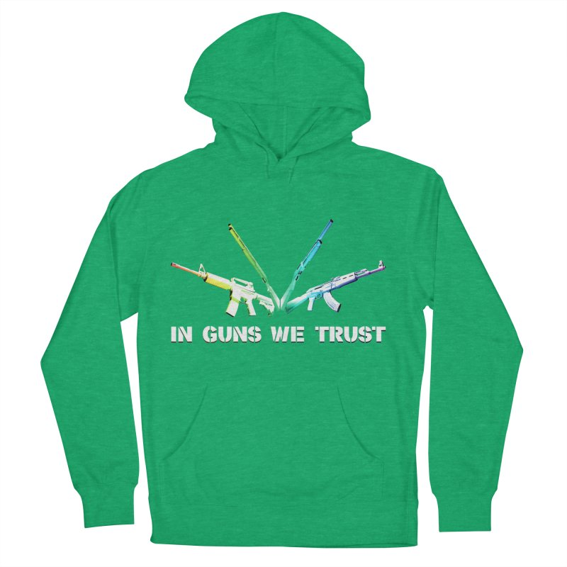 IN GUNS WE TRUST Men's French Terry Pullover Hoody by rikimountain's Artist Shop