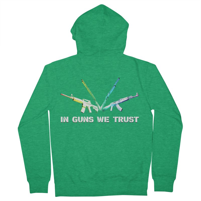 IN GUNS WE TRUST Men's Zip-Up Hoody by rikimountain's Artist Shop