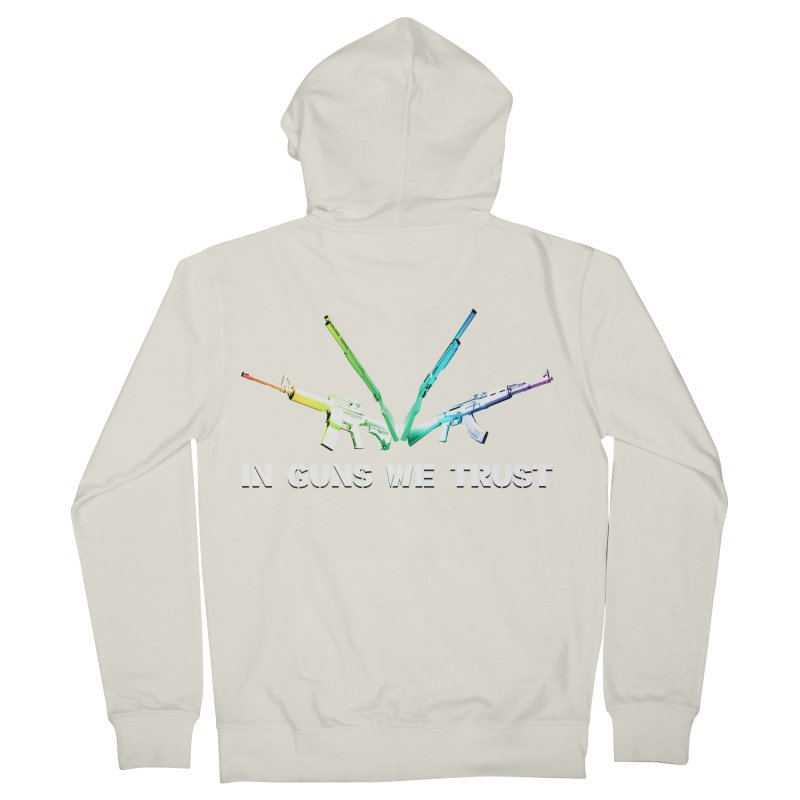 IN GUNS WE TRUST Men's French Terry Zip-Up Hoody by rikimountain's Artist Shop